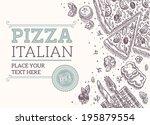pizza frame | Shutterstock .eps vector #195879554