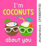 cute cartoon coconut couple... | Shutterstock .eps vector #1958809930