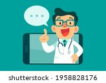 doctor with speech bubble...   Shutterstock .eps vector #1958828176