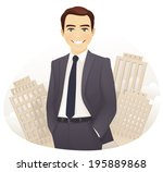handsome businessman in the city | Shutterstock .eps vector #195889868