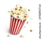 paper glass full of popcorn.... | Shutterstock .eps vector #195890714