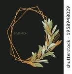 geometric gold frame of green... | Shutterstock . vector #1958948029