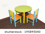 two small school chairs and... | Shutterstock . vector #195895040