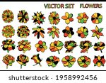 set of multi colored flowers on ...   Shutterstock .eps vector #1958992456