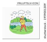 friluftsliv color icon. hiking. ... | Shutterstock .eps vector #1959001309