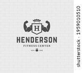 man biceps logo or badge vector ... | Shutterstock .eps vector #1959010510