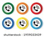 telephone vector icon set  flat ... | Shutterstock .eps vector #1959033439