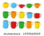 colored cups mockup filled...   Shutterstock .eps vector #1959069049