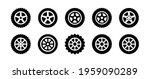 black rubber wheel tire set... | Shutterstock .eps vector #1959090289