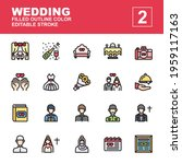 wedding icon set made with...