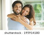 cute couple smiling | Shutterstock . vector #195914180