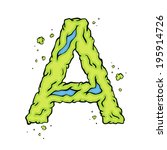 The Letter A. Bright Green...