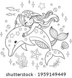 cute mermaid hugging a dolphin. ... | Shutterstock .eps vector #1959149449
