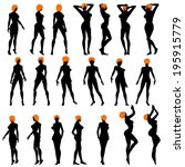 naked sexy girls silhouette set.... | Shutterstock .eps vector #195915779