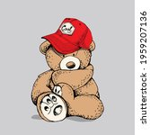 toy teddy bear in the red cap....   Shutterstock .eps vector #1959207136