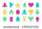 cute monster faces. funny and... | Shutterstock .eps vector #1959237253