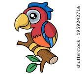 cute colorful parrot cartoon...   Shutterstock .eps vector #1959242716