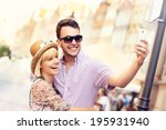 a picture of a young couple... | Shutterstock . vector #195931940