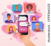 online dating via mobile app...   Shutterstock .eps vector #1959366103