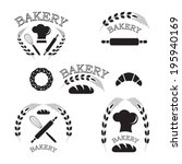 set of vintage bakery labels ... | Shutterstock .eps vector #195940169
