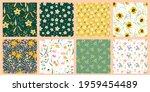 set of flowers vector seamless... | Shutterstock .eps vector #1959454489