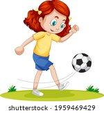cute girl playing football... | Shutterstock .eps vector #1959469429
