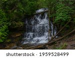 The Wagner Falls, located outside of Munising, Michigan, in the Upper Peninsula of Michigan.