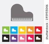 piano icon set   vector | Shutterstock .eps vector #195955046