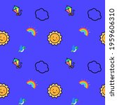 cute sun  clouds  birds ...   Shutterstock . vector #1959606310