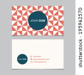business card template with... | Shutterstock .eps vector #195962570