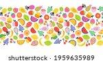 fruit seamless border vector.... | Shutterstock .eps vector #1959635989