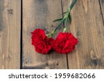 Two Red Carnations On A Wooden...