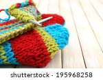 knitting with spokes on wooden... | Shutterstock . vector #195968258