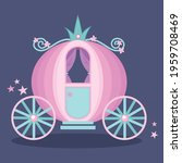Cute pink cinderella princess carriage with floral decoration and stardust cartoon vector illustration. Medieval kingdom transport.