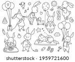 cute little bunny set  kids...   Shutterstock .eps vector #1959721600