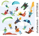 parachute extreme free fall... | Shutterstock .eps vector #1959733816
