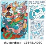 children on the beach. puzzle... | Shutterstock .eps vector #1959814090