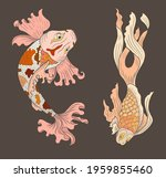 beautiful line art of gold fish ... | Shutterstock .eps vector #1959855460