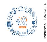 podcast show doodle equipment... | Shutterstock .eps vector #1959861616