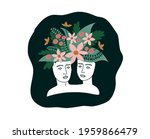 plaster heads of a woman and a... | Shutterstock .eps vector #1959866479