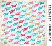 vintage background with cute...   Shutterstock .eps vector #195987836