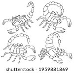 graphic scorpion set isolated... | Shutterstock .eps vector #1959881869