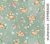 Baby Deer Watercolor Seamless...