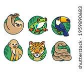 cute cartoon rainforest animals ... | Shutterstock .eps vector #1959890683