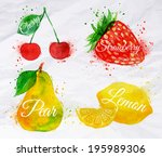 fruit set drawn watercolor... | Shutterstock .eps vector #195989306