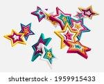 3d colorful stars on white... | Shutterstock .eps vector #1959915433