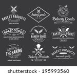 Stock vector white bakery vector badges for any use 195993560