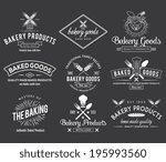 white bakery vector badges for... | Shutterstock .eps vector #195993560
