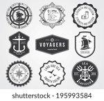 black vector sea badges for any ... | Shutterstock .eps vector #195993584