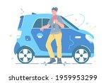 man holding keys from new car... | Shutterstock .eps vector #1959953299